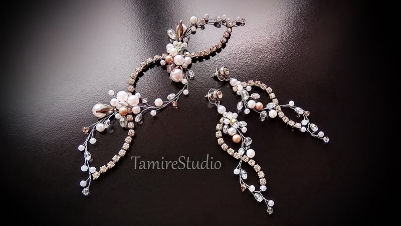 ✨TamireStudio✨DIY✨HOW TO MAKE WEDDING DECORATIONS FOR HAIR AND EARRINGS FROM STRAZS BEADS AND WIRES