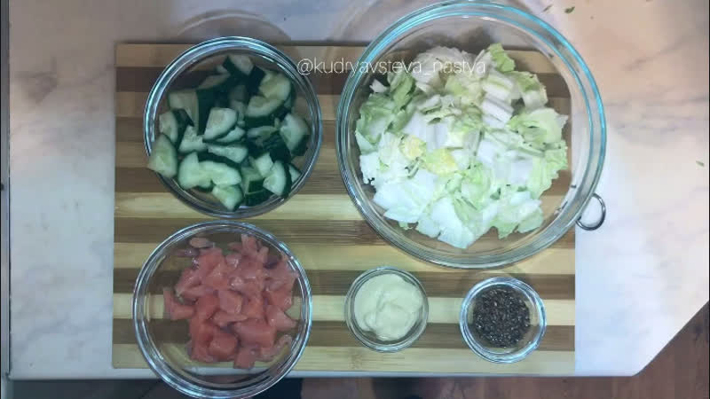 Настя Кудрявцева   Рецепт легкого салата с семгой
