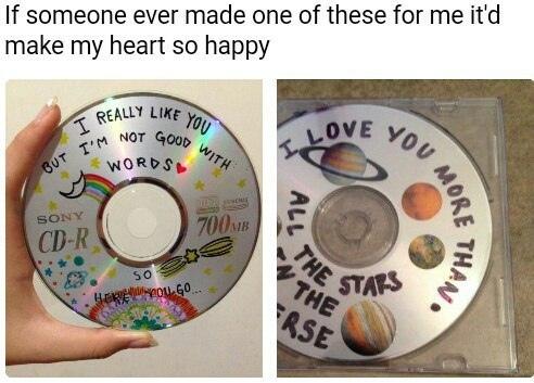если кто-нибудь сделает для меня подобный диск с подборкой музыки, то я буду безумно счастлив_а: «ты мне очень нравишься, но я не могу выразить это словами» «я люблю тебя больше, чем все звёзды