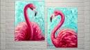 Диптих Фламинго, написанный двумя руками - мастер-класс, картина маслом