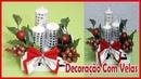 Arranjo de mesa com velas Decorações de natal DIY