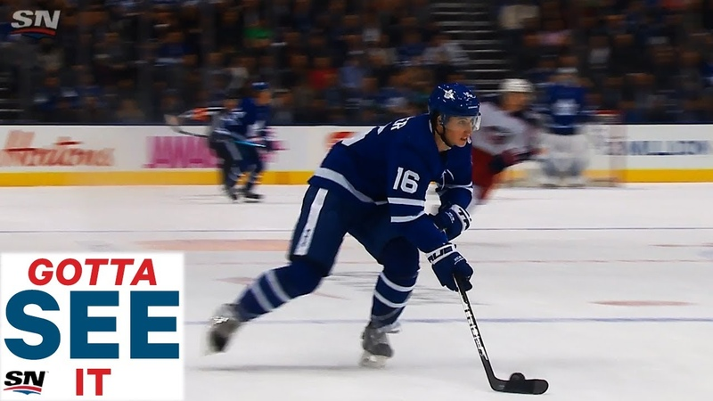 GOTTA SEE IT Mitch Marner Drags Around Defender Tips Puck Back To John Tavares