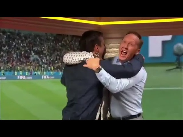 Ian Wright , Lee Dixon and Neville celebrating England's win vs Colombia. Mental