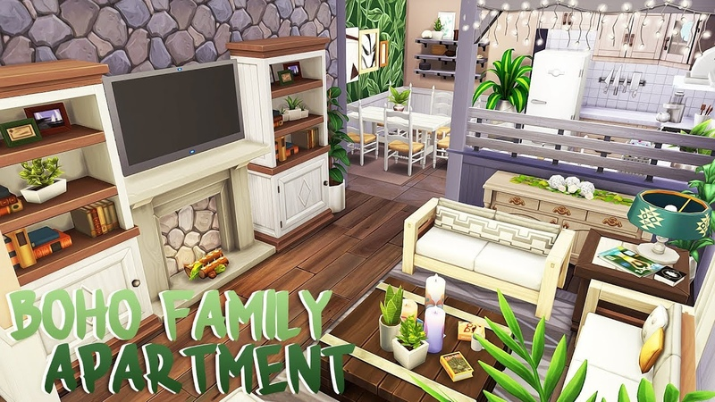 DREAMY BOHO FAMILY APARTMENT 🎍 | The Sims 4 | Apartment Renovation Speed Build