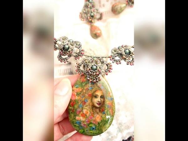 Комплект кулон серьги с росписью на камне Фея цветов в техниках лаковая миниатюра фрив