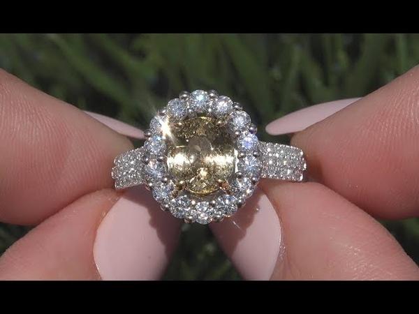 Certified 3.12 tcw VS Yellow Unheated Tanzanite Diamond Cocktail 14k Gold Ring - C944