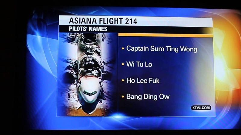 ASIANA FLIGHT 214 PILOT'S NAMES RELEASED BY KTVU (VERY FUNNY FAIL!!)