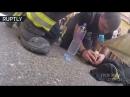 Видео с нательной камеры: пожарные спасли собаку из огня