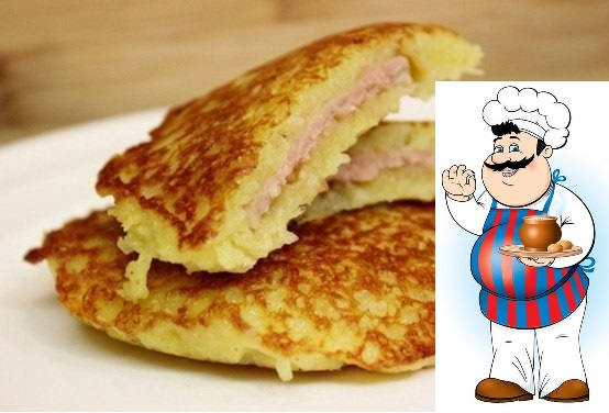 КАРТОФЕЛЬНЫЕ БЛИНЫ ИНГРЕДИЕНТЫ: картофель 400 гр яйцо 2 шт кефир 250 мл мука 5 ст.л. (с горкой) сыр твёрдый 80 гр лук репчатый 1 шт соль 1 щепотка растительное масло для жарки ПРИГОТОВЛЕНИЕ: