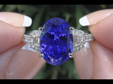 GIA Certified Violet Blue Tanzanite Diamond Cocktail Ring 18k Gold 6 06 TCW C1002