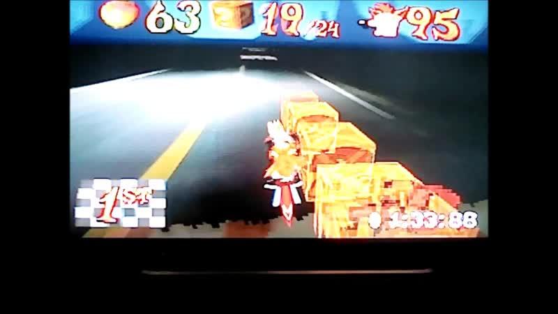 Crash Bandicoot 3:Warped (PAL). Area 51?. Passage on 2 gemPlatinum Relic. Time Trial-1:34:04. WR