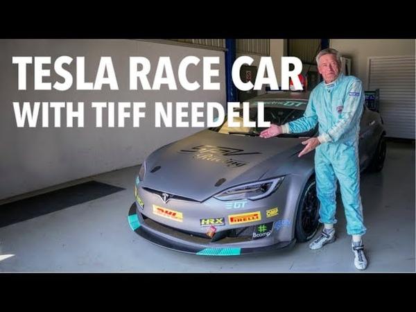 Tesla Race Car Tiff Needell drives The Electric Tesla GT P100DL
