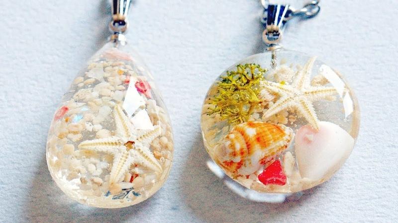 UVレジン 潮だまりみたいなネックレスを2種類作りました resin