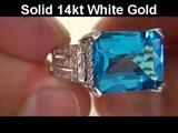 VIVID VVS Genuine Electric Swiss Blue Topaz &amp Diamond Ring - Estate Sale