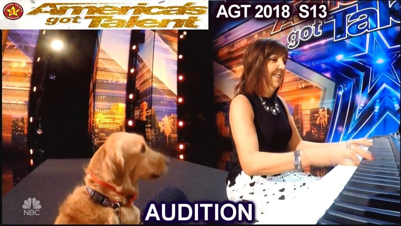 Oscar and Pam Singing Dog He's on Key - Full Audition America's Got Talent 2018 Audition AGT