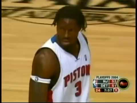 Ben Wallace Shares a Block on One End, Flushes Home a Lob on the Other (2004 Playoffs)