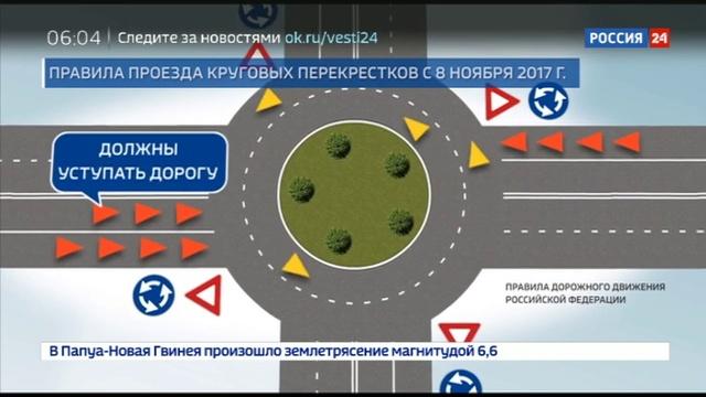 Новости на Россия 24 • Поправки в ПДД о проезде кругового перекрестка вступили в силу