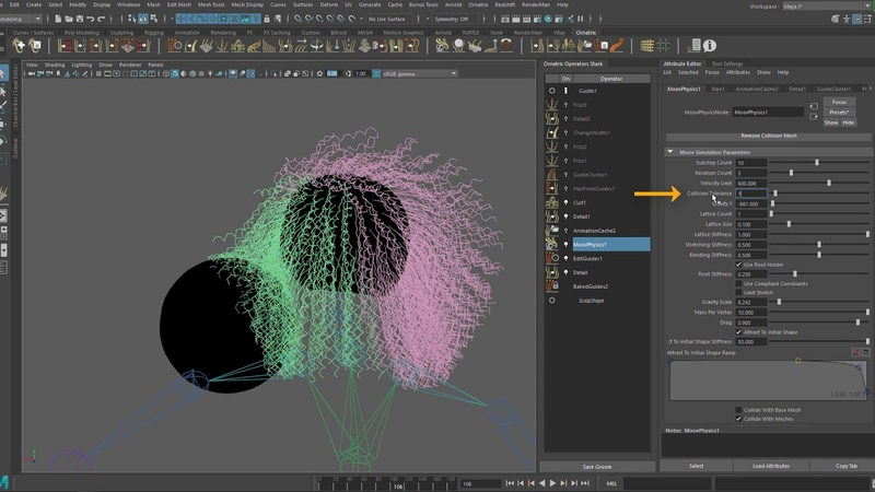 Ornatrix Maya V2: Hair Simulation and Collisions - P2