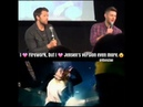 Jensen kind of singing Firework by Katy Perry. 😄😂💕 Jensen and Misha panel, Jus In Bello