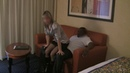 Wife in shiny Satin Miniskirt and Top hotel fun