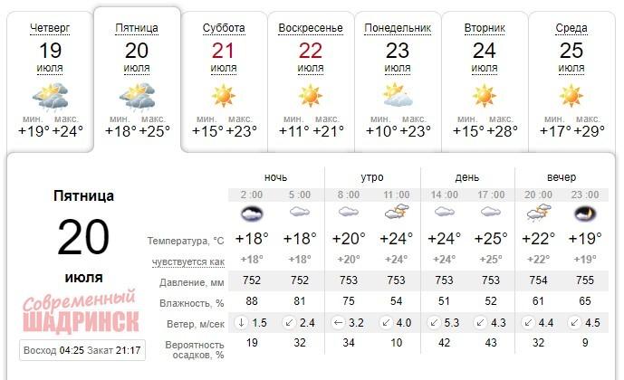 Прогноз погоды в Шадринске 20 июля: