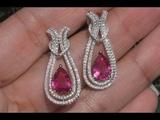 GIA Certified 5.02 tcw Top Gem Purplish Pink Tourmaline 14k Gold Earrings