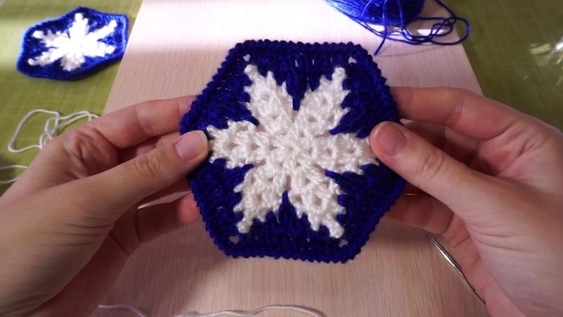 Вязание мотива снежинки крючком