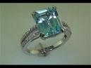 6.45 ct Estate Art Deco Blue Topaz Diamond Ring Solid 14k Gold