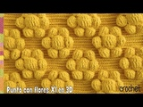Punto con flores mollie XXL en relieve 3D tejido a crochet Tejiendo Peru