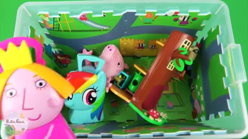 Узнайте персонажей, цвета, транспортные средства с Беном и Холли, Свинка Пеппа в коробке с игрушками для детей