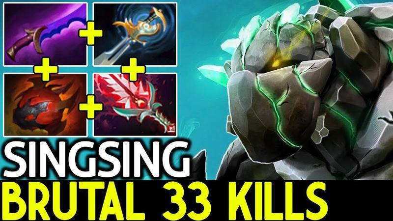 Singsing [Tiny] Brutal 33 Kills 0 Death Mass Gank 7.19 Dota 2