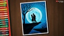 Couple Moonlight scenery drawing with Oil Pastels step by step