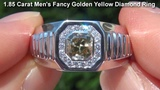 UNTREATED Men's Fancy Golden Yellow Diamond &amp Solid 18K Gold Ring - ROLEX STYLE