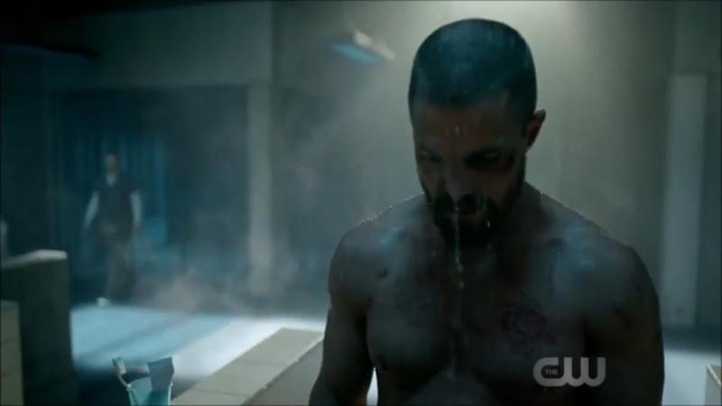 Arrow 7x01 Shower Fight Scene