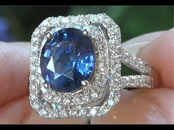 GIA Certified UNHEATED Blue Changing To Violet Color Change Sapphire Diamond Ring C252