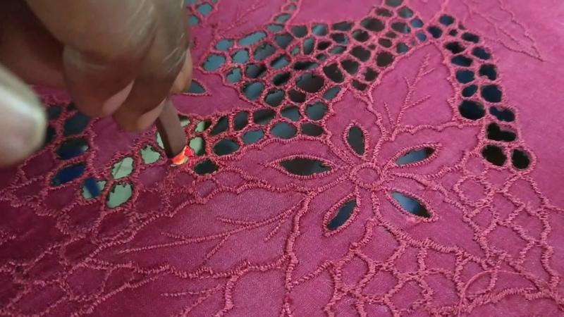 Honey comb cutwork embroidery saree full process