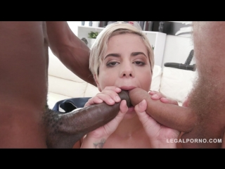 Swallowing cum while being fucked