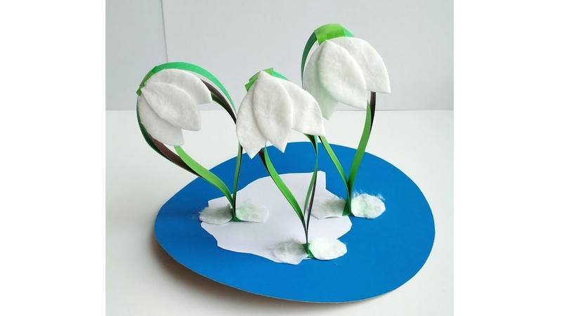 Весенние поделки Цветы из ватных дисков и бумаги своими руками