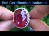 Rare Extra Large Intense Red Ruby &amp Diamond Cocktail Ring Set In Solid 18k White Gold Must Be Sold