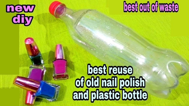 DIY Best out of waste plastic bottle and nail polish craft idea reuse idea