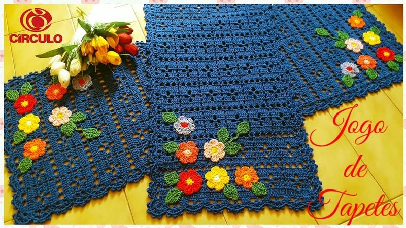 Jogo de tapetes em Crochê.🌸🍃🌼 Super fácil . Por Vanessa Marcondes.