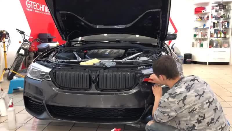 Оклейка антигравийной пленкой Llumar PPF новой BMW 5 G30
