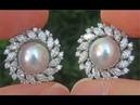 GIA Certified Natural SILVER Japanese Salt Water Akoya Pearl Diamond PLATINUM Earrings - C839