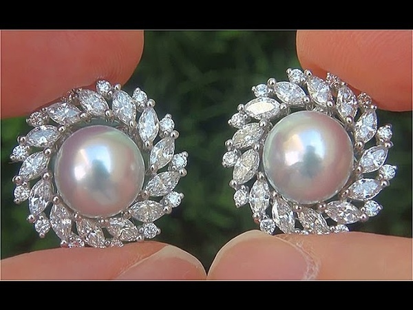 GIA Certified Natural SILVER Japanese Salt Water Akoya Pearl Diamond PLATINUM Earrings - C839