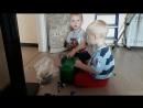Дети грузят Lego.