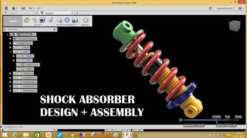 Shock absorber | design and assembly | fusion 360 tutorials