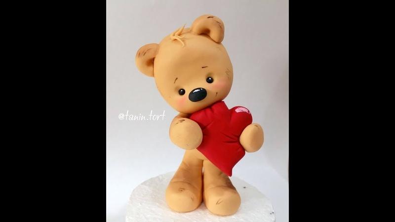 Мишка из мастики Valentine's Day Teddy Bear Tutorial! Teddy Bear cake topper. Bär aus Fondant