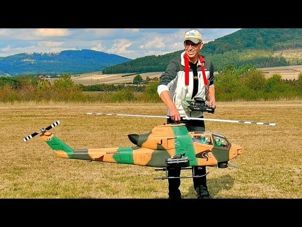 STUNNING GIGANTIC RC AH 1 COBRA SCALE MODEL ELECTRIC HELICOPTER WITH ORIGINAL SOUND FLIGHT DEMO