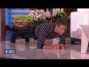 The Ellen Show 2.10.2018 Justin Hartley Balances Ellen on His Back for Charity