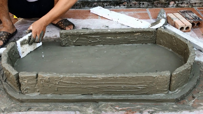 Idea of making rockery from styrofoam - Creative construction - Rockery from the sand and cement